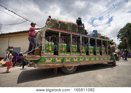 September 6, 2016 Silvia Colombia: the colourful windowless old chiva buses are used to transport people as well as merchandise to the local market