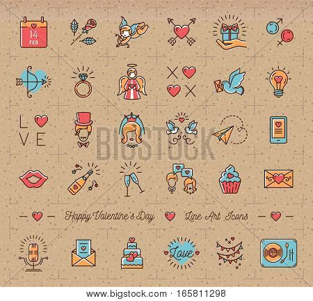 Retro Valentine Icon set, flat design line art thin style, Valentines day signs and love symbols. Trendy colorful icons on a cardboard kraft paper background, Vector illustration