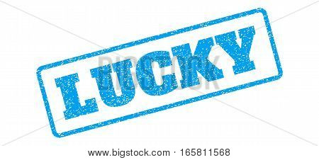 Blue rubber seal stamp with Lucky text. Vector caption inside rounded rectangular shape. Grunge design and dirty texture for watermark labels. Inclined emblem on a white background.