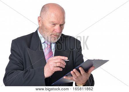 mature businessman posing against white, writing something