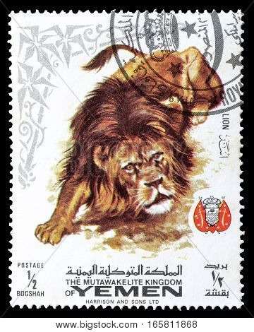 YEMEN - CIRCA 1969 : Cancelled postage stamp printed by Yemen, that shows Lion.