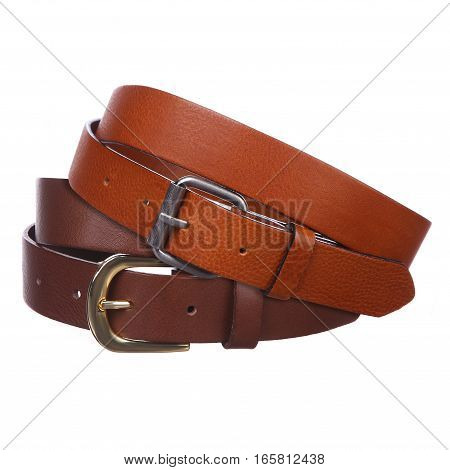 Two men's belt on a white background
