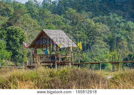 Wood hut in rice field countryside in Pai, Thailand