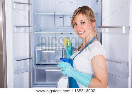 Young Smiling Woman Cleaning Empty Refrigerator In Kitchen