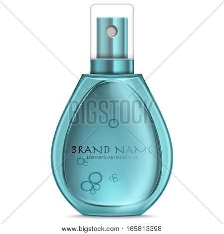 Turquoise realistic parfume bottle isolated on white. Mock-up of Perfume advertisement. Women perfume in beautiful bottle isolated on white.