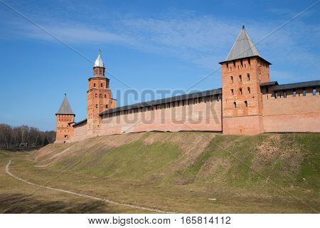View of towers of the Kremlin of Veliky Novgorod in the sunny April day. Russia