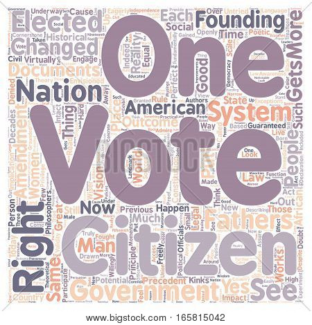 Every Citizen Gets a Vote text background wordcloud concept poster