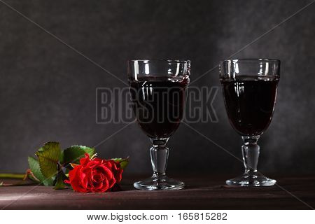 Two Wine Glass On Dark Table