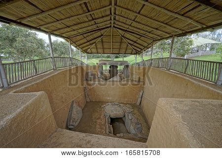ancient grave in the San Agustin archeological park Colombia