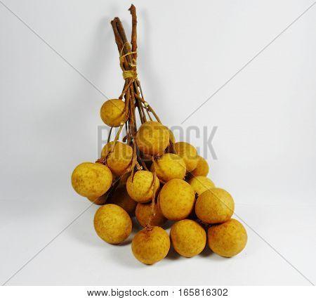 Fresh longan (dimocarpus longan), isolated on white background,Thai Fruit Fresh Longans Isolated on White Background