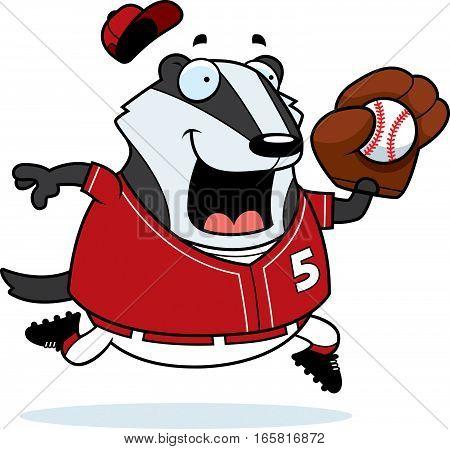 Cartoon Badger Baseball