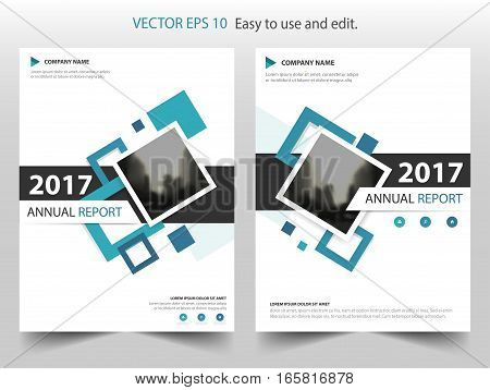 Blue square annual report Leaflet Brochure Flyer template design book cover layout design abstract business presentation template a4 size design