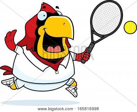Cartoon Cardinal Tennis