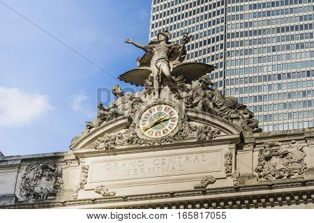 New York USA November 2016: Closeup horizontal view of Grand Central Terminal facade including sculpture and clock.