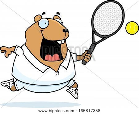 Cartoon Hamster Tennis