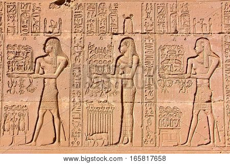 DENDERA, EGYPT: Hieroglyphs at Dendera temple dedicated to Hathor goddess