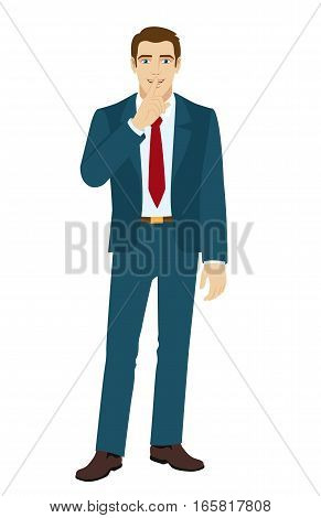 Hush hush. Businessman making hush sign. Vector illustration.