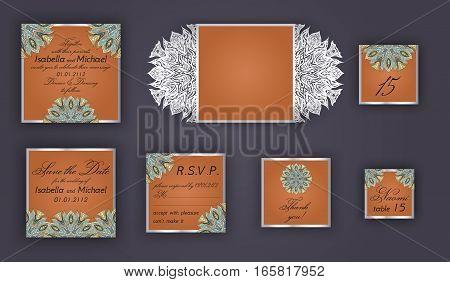 Vintage Wedding Invitation Design Set Include Invitation Card, Save The Date, Rsvp Card, Thank You C