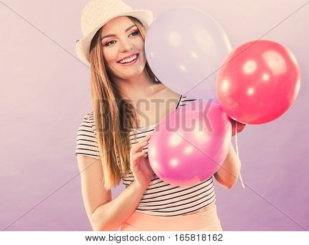 Cheering Girl With Balloons.