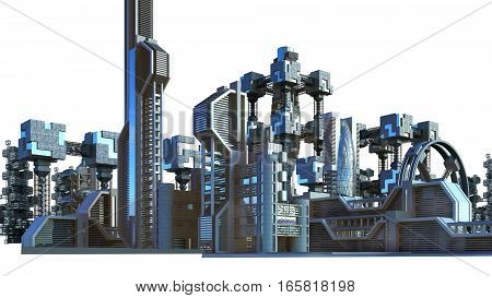 3D Illustration of a futuristic city architecture with skyscrapers and modern glass structures, for fantasy or science fiction backgrounds, with the clipping path included in the file.