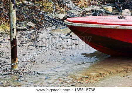 small boat moored to the end of the season fishing