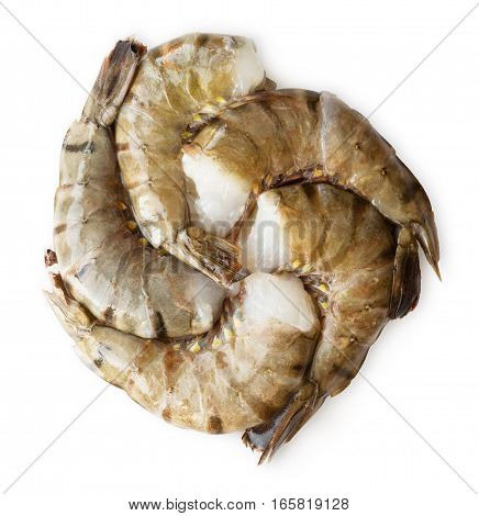 Fresh raw tiger shrimps isolated on white background. Seafood shellfish king prawns in shells
