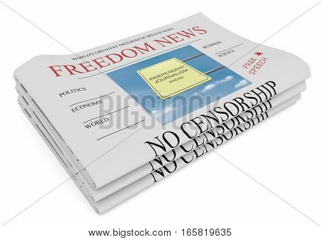 Freedom of Speech News Concept: Pile of Newspapers 3d illustration on white background