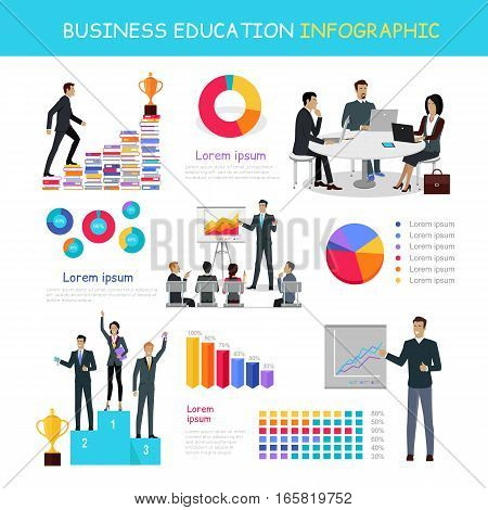 Business education infographic. Professional growth successful team master class postgraduate education banner. Presentation data and information, chart for study, winners podium. Vector illustration