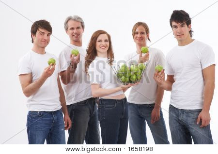 Five People - Many Green Apples
