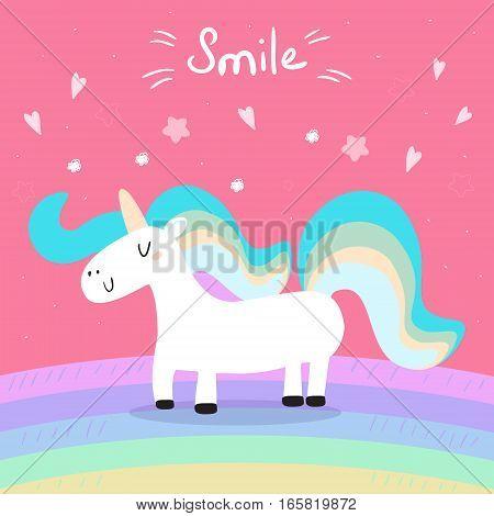 Cute unicorn print for kids. Smile card.