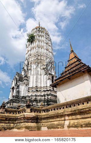 Ancient pagoda at Wat Phutthai Sawan temple in Ayutthaya Historical Park Phra Nakhon Si Ayutthaya Province Thailand