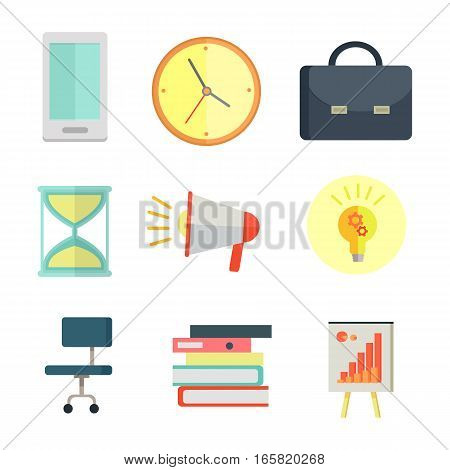 Set of business icons in flat style. Phone, clock, briefcase, sand watch, chair, documents, chart, loudspeaker, pictures for concepts, web, app icons infographics design Isolated on white