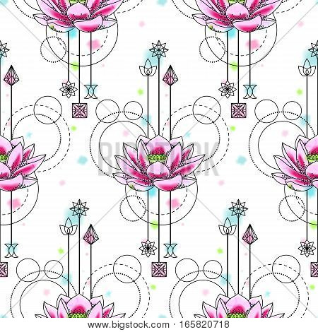 Abstract floral techno seamless pattern with lotus and geometric elements on white background. Floral wallpaper with vector watercolor effect.