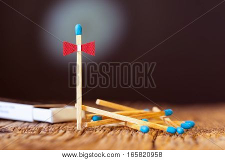 Pile of Wooden unused matches, bowtie concept