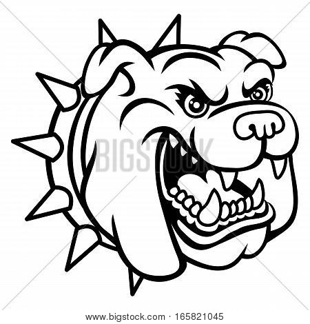 A Bulldog head logo. This is vector illustration ideal for a mascot and tattoo or T-shirt graphic.