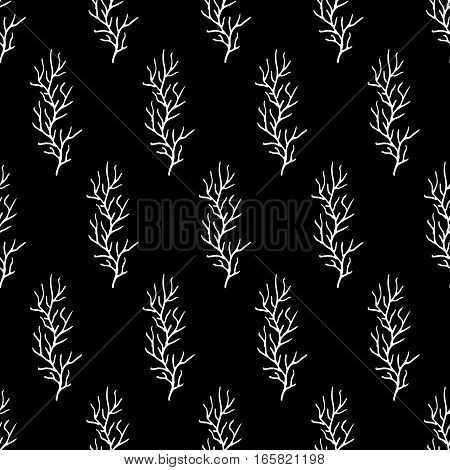 Abstract branch pattern with hand drawn branches. Cute vector black and white branch pattern. Seamless monochrome branch pattern for fabric, wallpapers, wrapping paper, cards and web backgrounds.