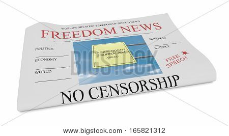 Freedom of Speech News Concept: Newspaper 3d illustration on white background