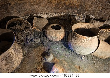 ancient burial urns in an underground grave in Tierradentro Colombia