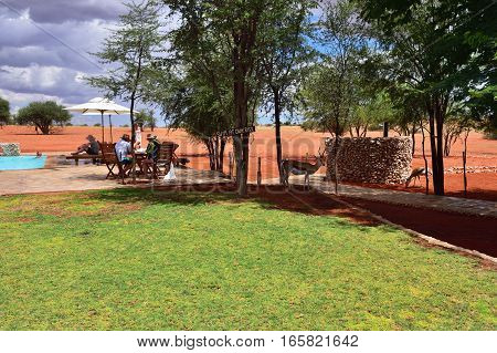 KALAHARI NAMIBIA - JAN 23 2016: Relaxing area in Bagatelle Kalahari Game Ranch one from the most famous and popular place in Kalahari desert to stay and relax during safari