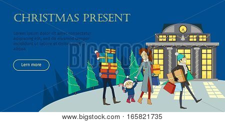 Christmas present conceptual web banner. Flat style vector. Family leave store with gift boxes in evening on Christmas Eve. Shopping on winter holidays. For supermarket, sales and discounts ad