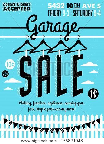 Garage or Yard Sale with signs, box and household items. Vintage printable poster or banner template.