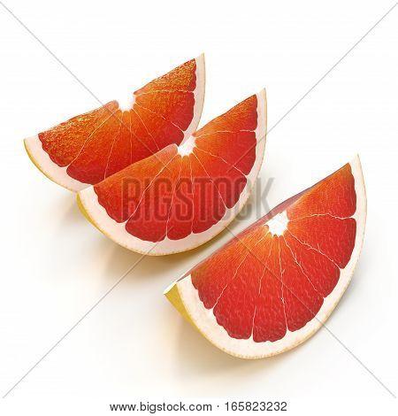 Grapefruit slices isolated on white background. 3D illustration