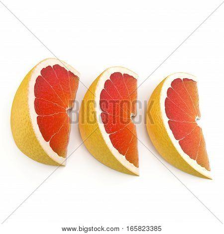 Three sliced grapefruit on white background. 3D illustration