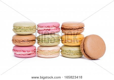 Sweet And Colourful French Macaroons Or Macaron Dessert On White Background