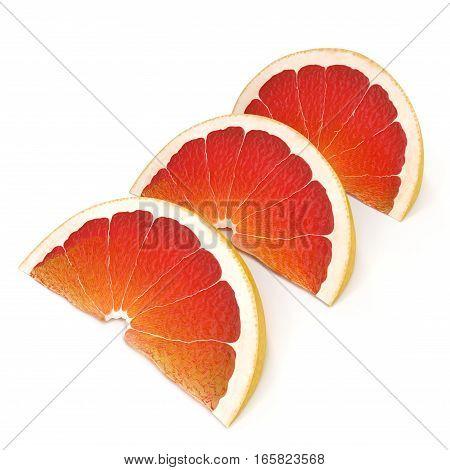 Grapefruit slices on white background. 3D illustration
