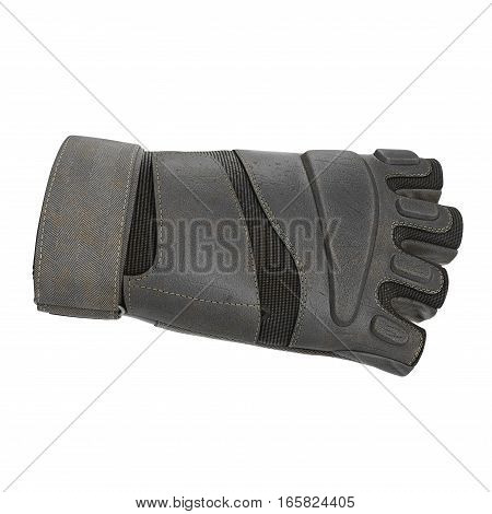 Side view of soldier gloves from yellow fabric on white background. 3D illustration