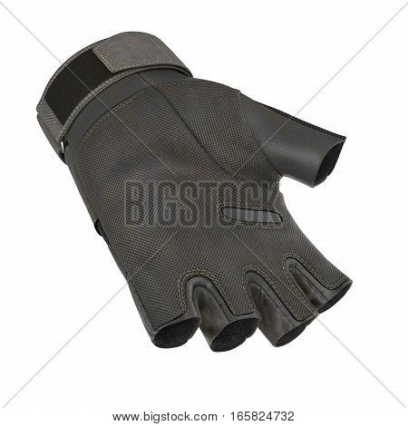 Combat black short finger glove on white background. 3D illustration