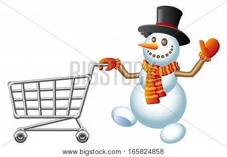 Snowman pushes shopping cart. Christmas shopping cart. Vector Illustration.
