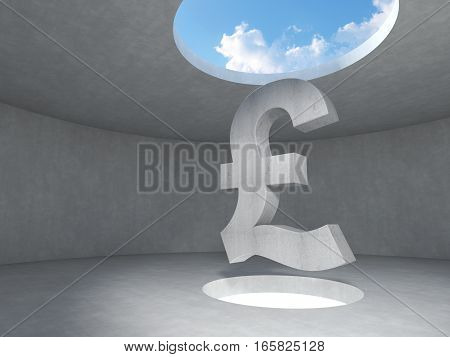 Pound sign over the light hole space on floor up to the sky in concrete room. 3D rendering illustration.