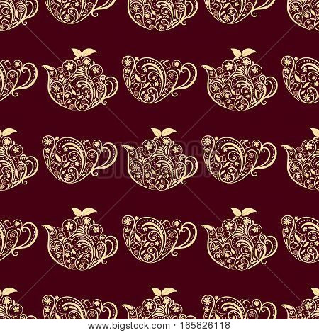 Seamless Floral Teapot and Cup Pattern. Seamless pattern for your design, invitation card, menu, cafe, bar and other drink wrapped projects. Fabric Teapot Pattern.